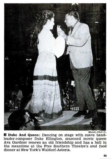 Ava with Duke Ellington at Free Southern Theatre Benefit - Soul Food at the Waldorf - May 29, 1969 edition of Jet