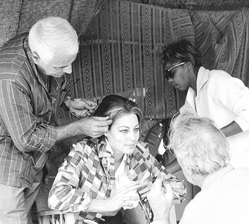 Ava Gardner on set of The Bible with director John Huston.